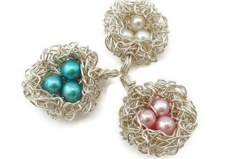 Three egg bird nest pendant
