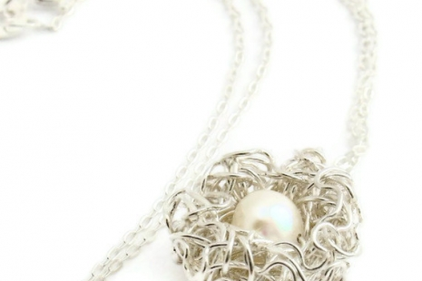 Bird Nest Necklace One Pearl Egg in Sterling Silver