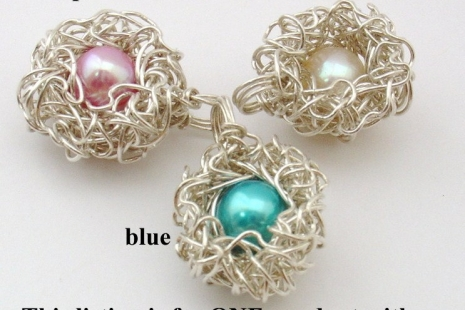 Choose Your Own Pearl Color Mother Bird Nest Pendant in Sterling Silver with One