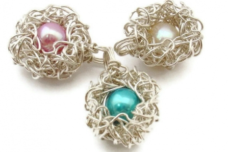 Custom Pearl Color Mother Bird Nest Pendant in Sterling Silver with One Egg
