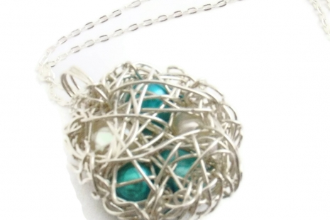 Grandmother's Bird Nest Necklace in Sterling Silver with Five Pearls